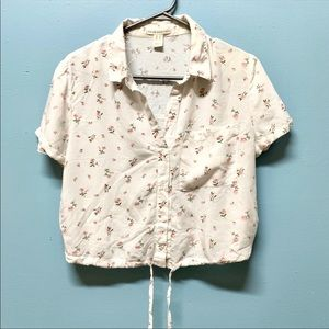 🟢2 for $15 Cotton button up crop top